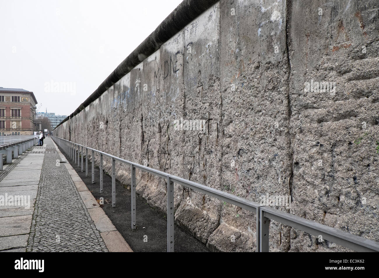 A section of the berlin wall beside the topography of terror history museum in berlin
