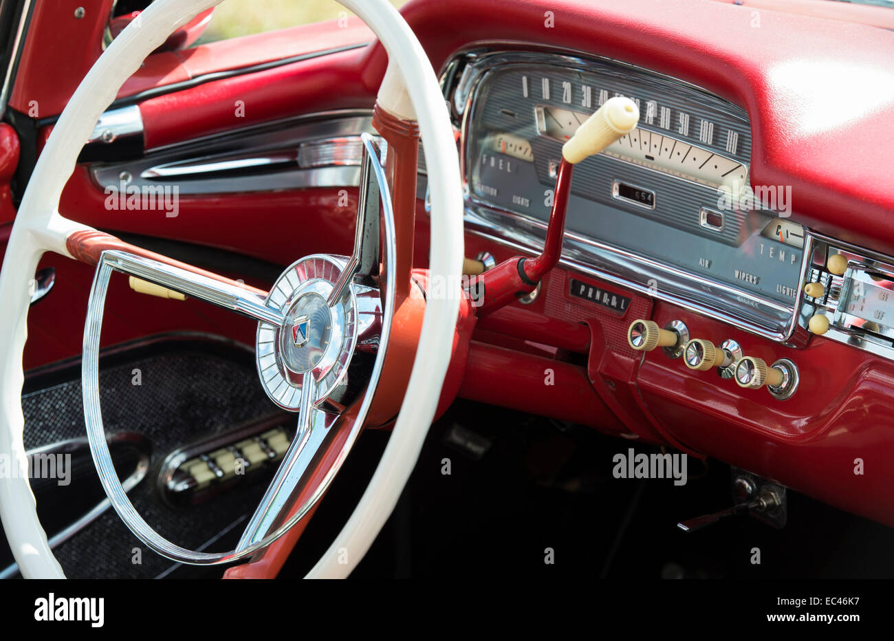 ford galaxie skyline interior detail 1950s american car stock photo 76310395 alamy. Black Bedroom Furniture Sets. Home Design Ideas