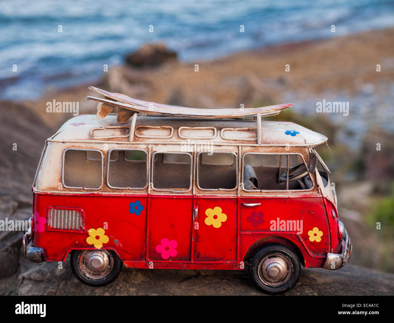 model car of a volkswagen t1 classic hippy van on a rock. Black Bedroom Furniture Sets. Home Design Ideas