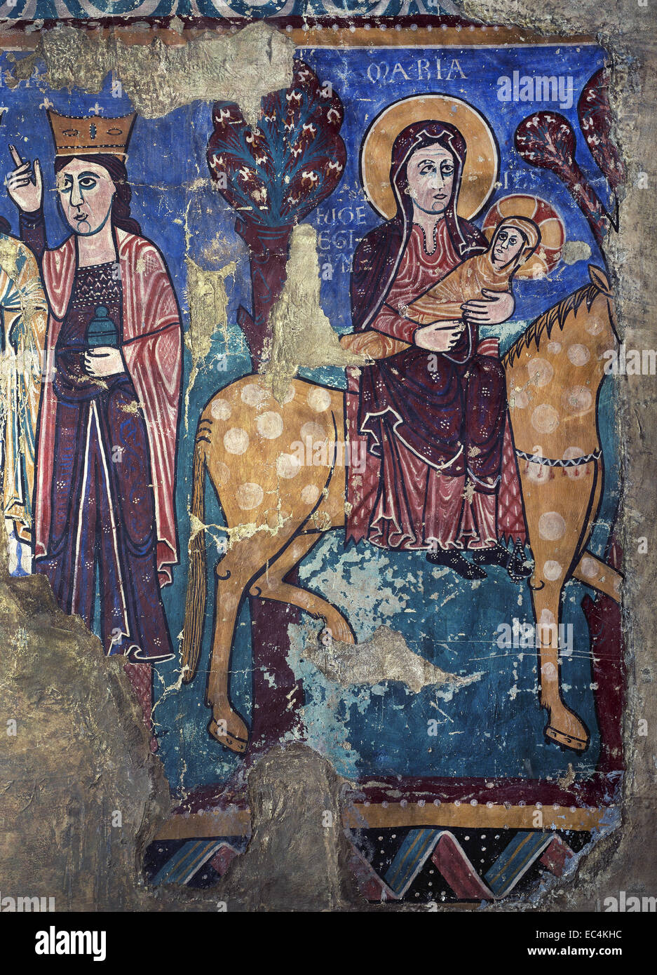 Romanesque spain flight into egypt mural painting late for Egyptian mural painting