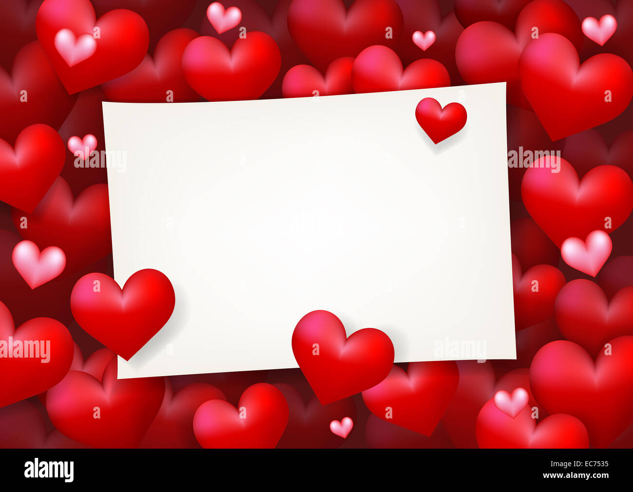 Blank paper card surrounded by floating red heart and pink love
