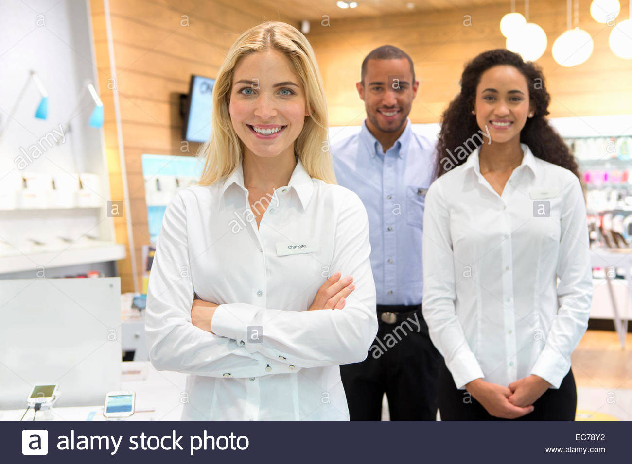 s assistant stock photos s assistant stock images alamy s team in phone store stock image
