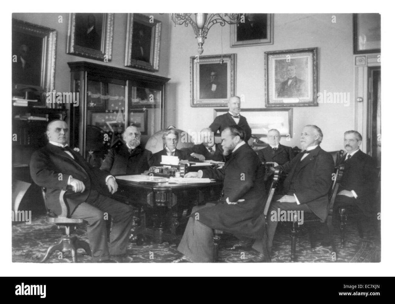High Quality President William McKinley And His Cabinet Seated Around A Table. McKinley  Was The 25th President Of The United States And Led