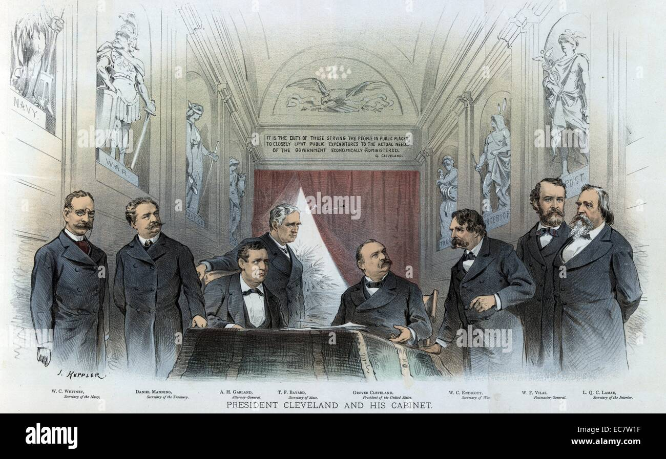 President Cleveland sitting at a desk between his cabinet members ...
