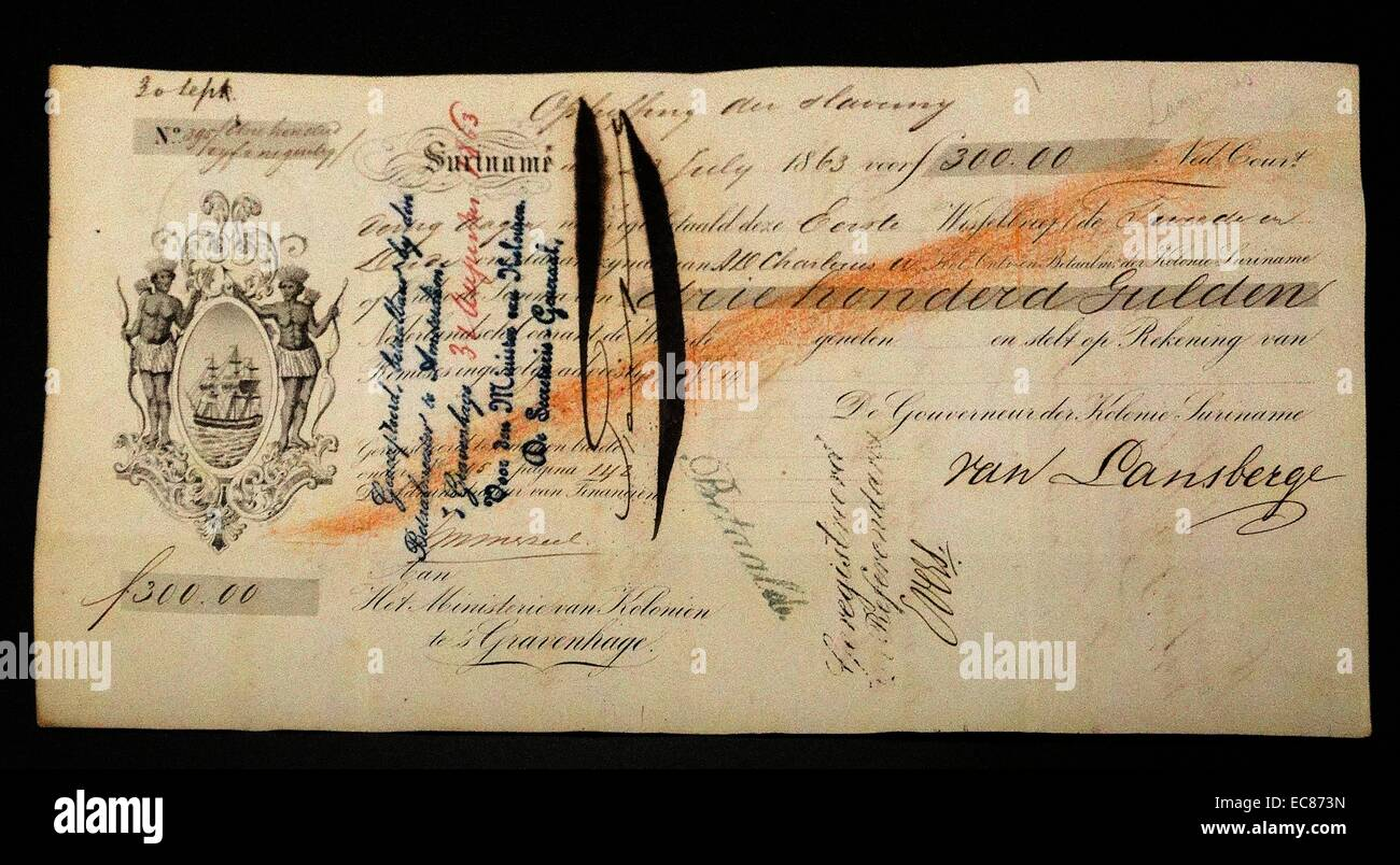 The Bill Of Exchange U0027abolition Of Slaveryu0027 From The Dutch Colonial  Ministry. Dated 1863  Bill Of Exchange Sample