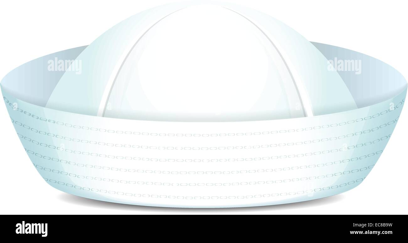 Sailor stock photos illustrations and vector art - Peaked Sailor Hat On White Background Isolated Vector Illustration