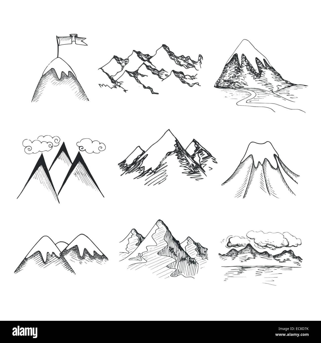 Hand drawn snow ice mountain tops decorative icons ...