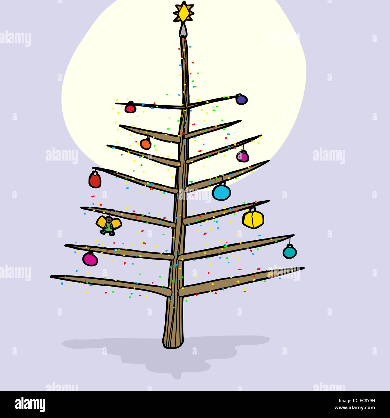 Bare branch Christmas tree with ornaments and moonlight Stock ...