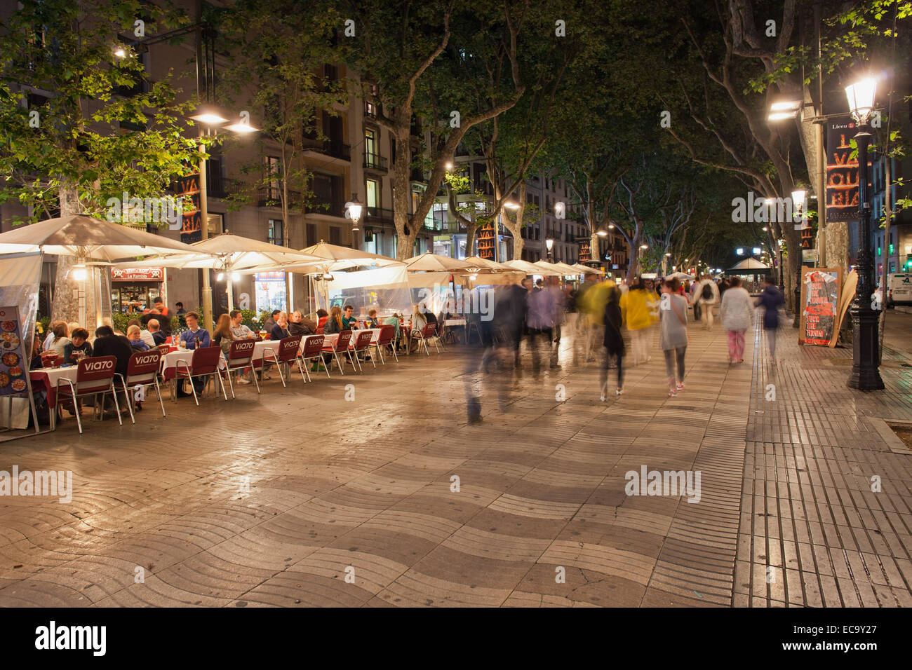 la rambla at night in barcelona catalonia spain stock photo royalty free image 76436143 alamy. Black Bedroom Furniture Sets. Home Design Ideas
