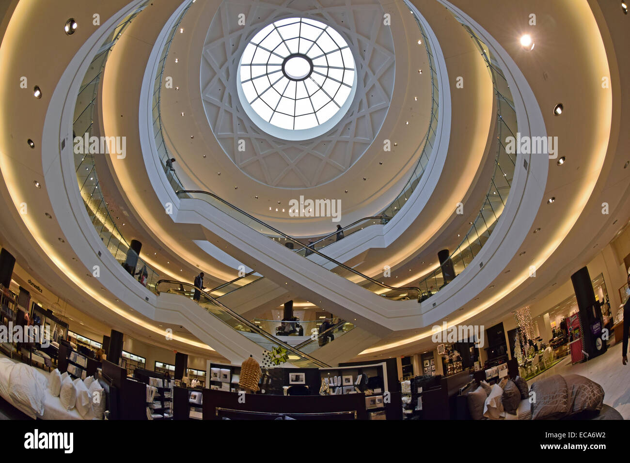 a fisheye lens interior view of 3 floors of bloomingdales at stock photo 76442270 alamy. Black Bedroom Furniture Sets. Home Design Ideas