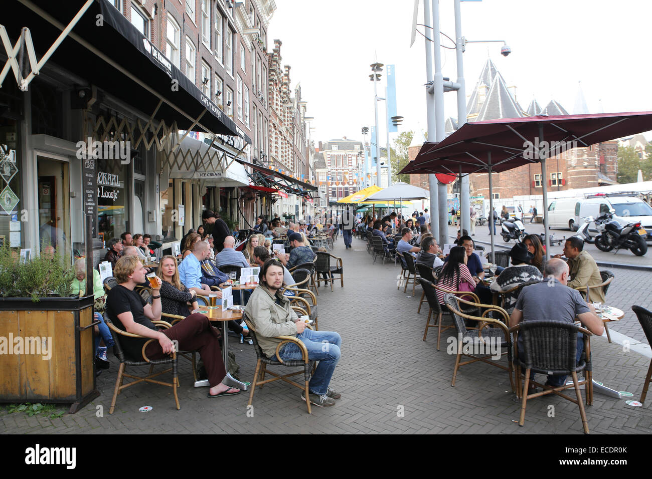 Marvelous Stock Photo   Amsterdam Outdoor Cafe Restaurant Patio Busy People