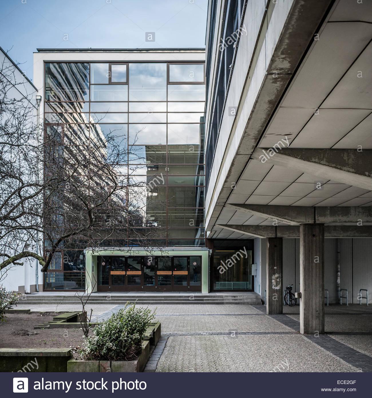 Entrance Modern Concrete Glass Facade Building Stock Photo