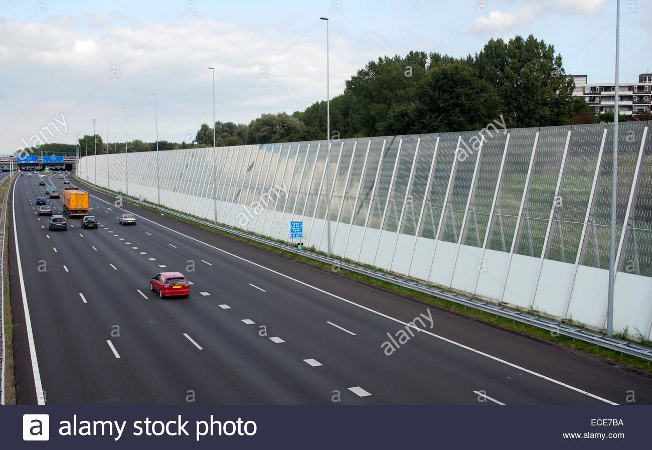 Amsterdam The Netherlands A10 Ring Road Sound Wall To Keep The Stock Photo Royalty Free Image