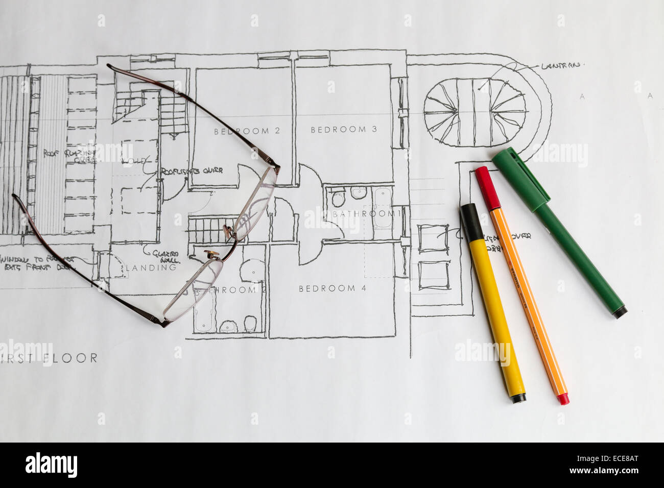 Hand drawn architects house or real estate plans produced for How to draw architectural plans by hand