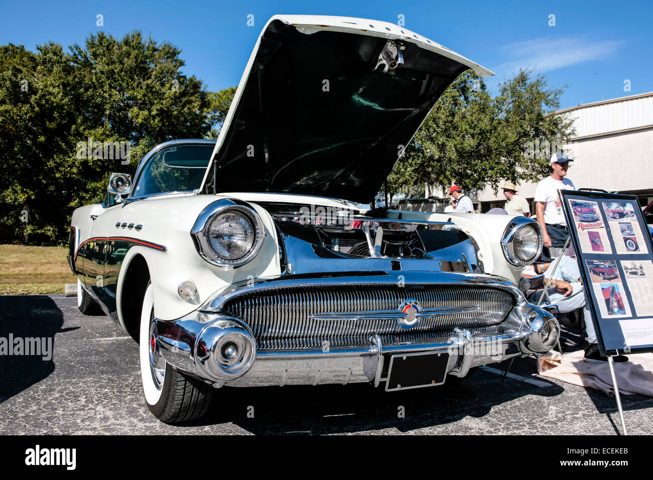1957 white buick super century convertible car on display for Century motors of south florida