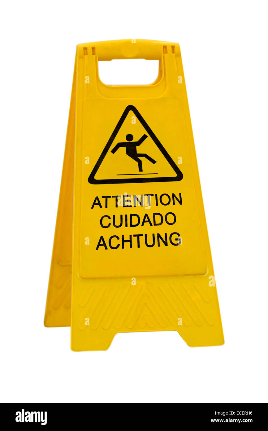 Stock Photo   Yellow Caution Slippery Wet Floor Sign Labeled In  English/French, Spanish And German Language Isolated On White Background