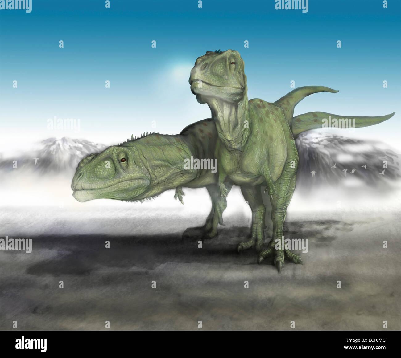 A Pair Of Young Giganotosaurus Carolinii Make Their Way