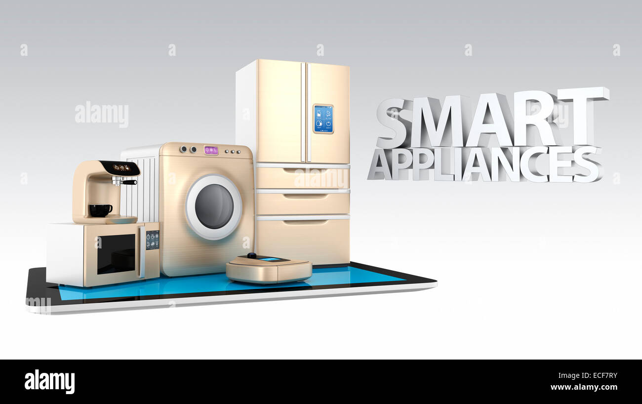 Concept of smart kitchen appliances control by tablet PC Stock ...