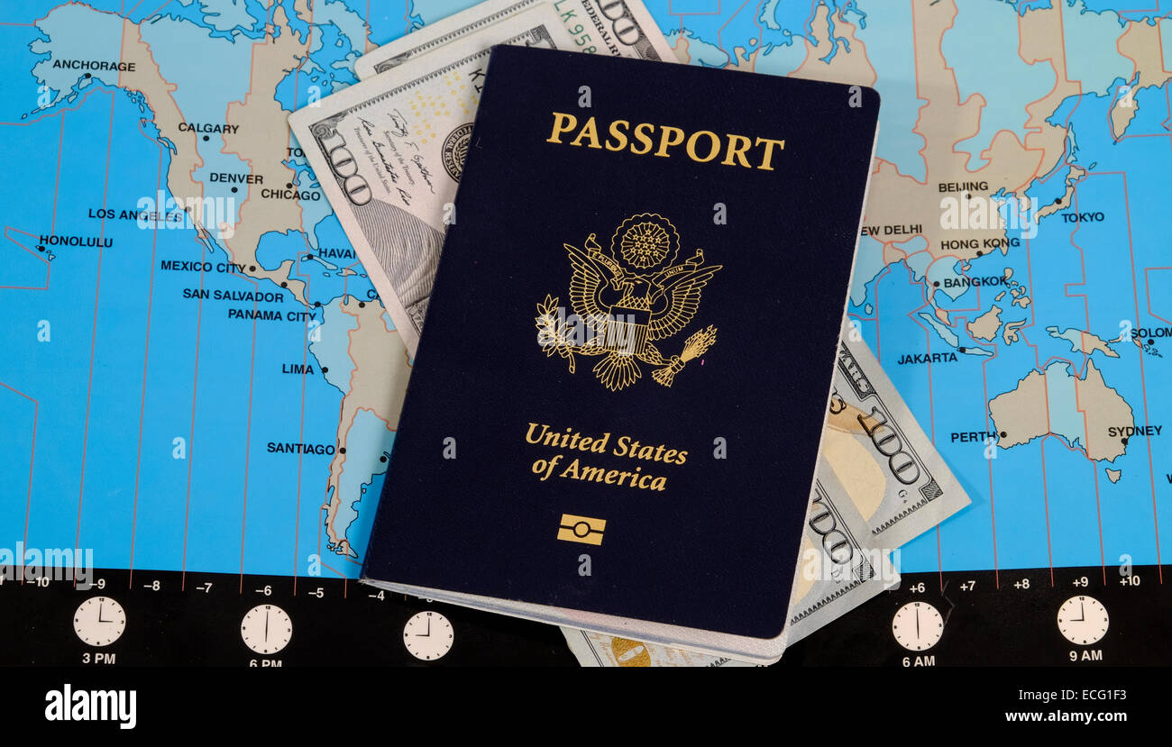 US Passport And Currency On World Time Zone Map Stock Photo - Time zone map for us