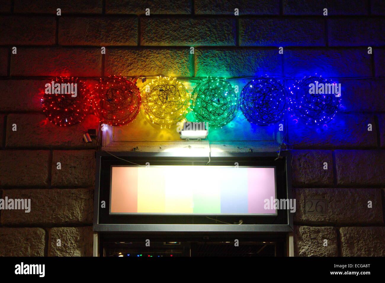Rome, Italy. 13th December, 2014. Rainbow flag christmas lights ...