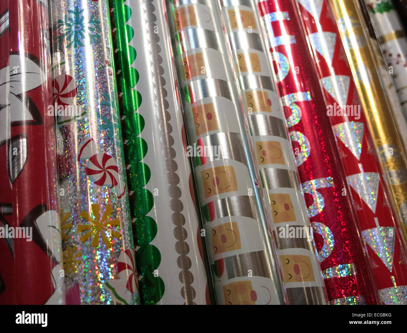 Christmas Holiday Gift Wrapping Display, Papyrus Store, NYC Stock ...