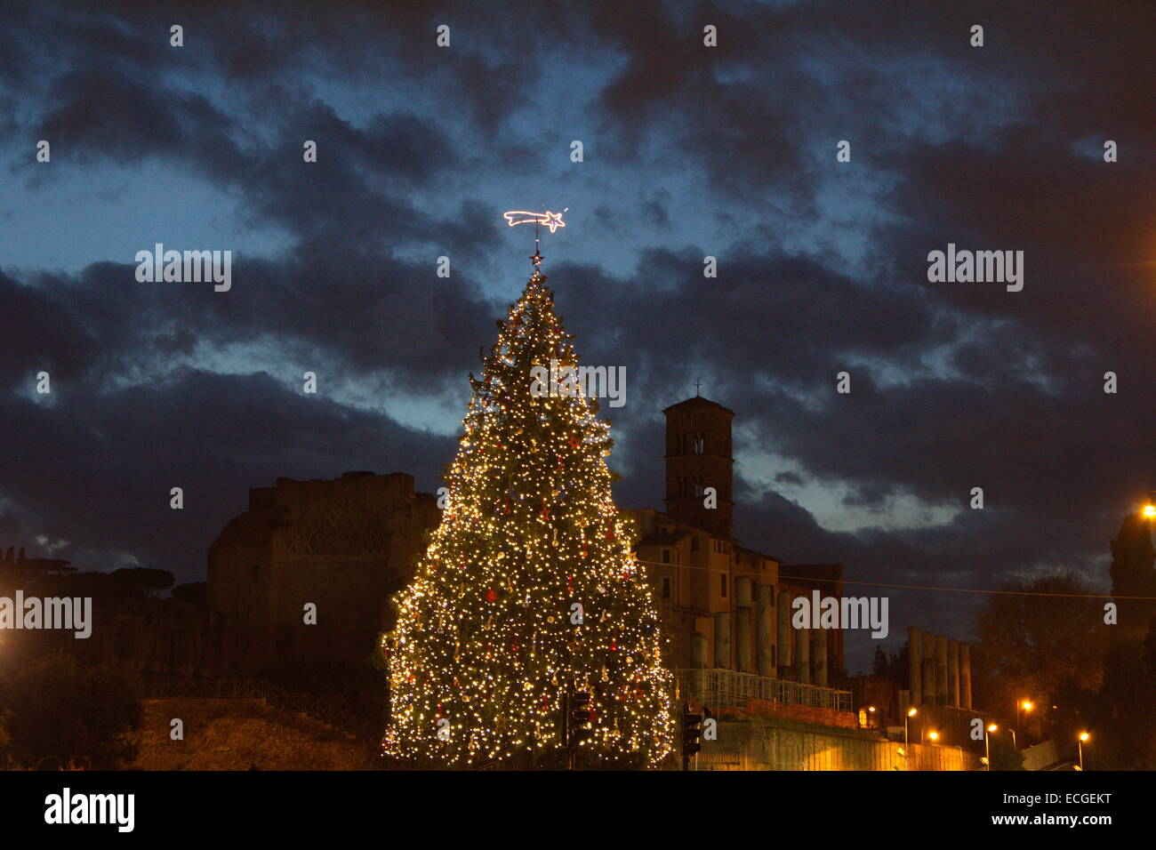 Christmas Tree Setup Instructions : Rome italy th december christmas tree set up by