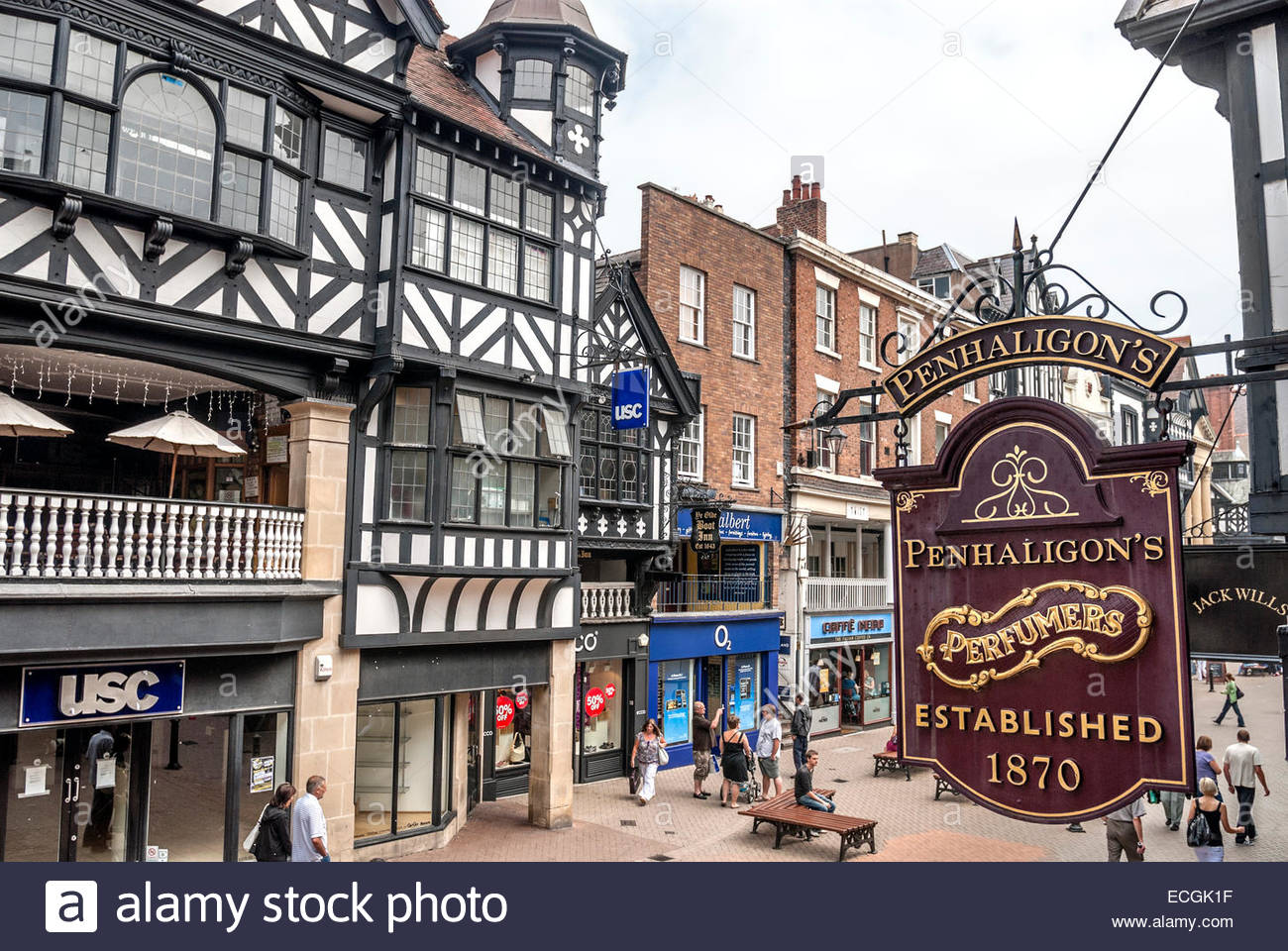 old shop sign at the historical town centre of chester