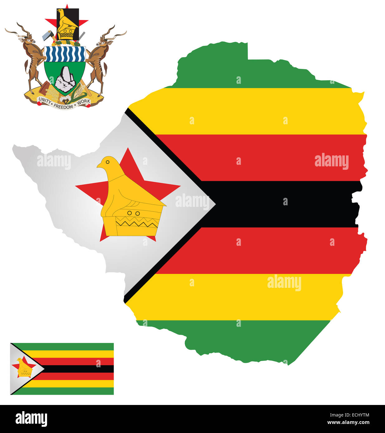 Flag And National Coat Of Arms Of The Republic Of Zimbabwe - Republic of zimbabwe map