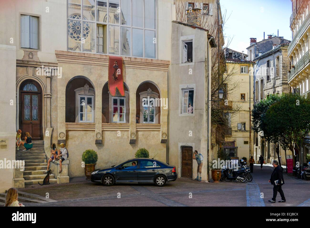 france herault montpellier historic center saint roch place stock photo royalty free image. Black Bedroom Furniture Sets. Home Design Ideas