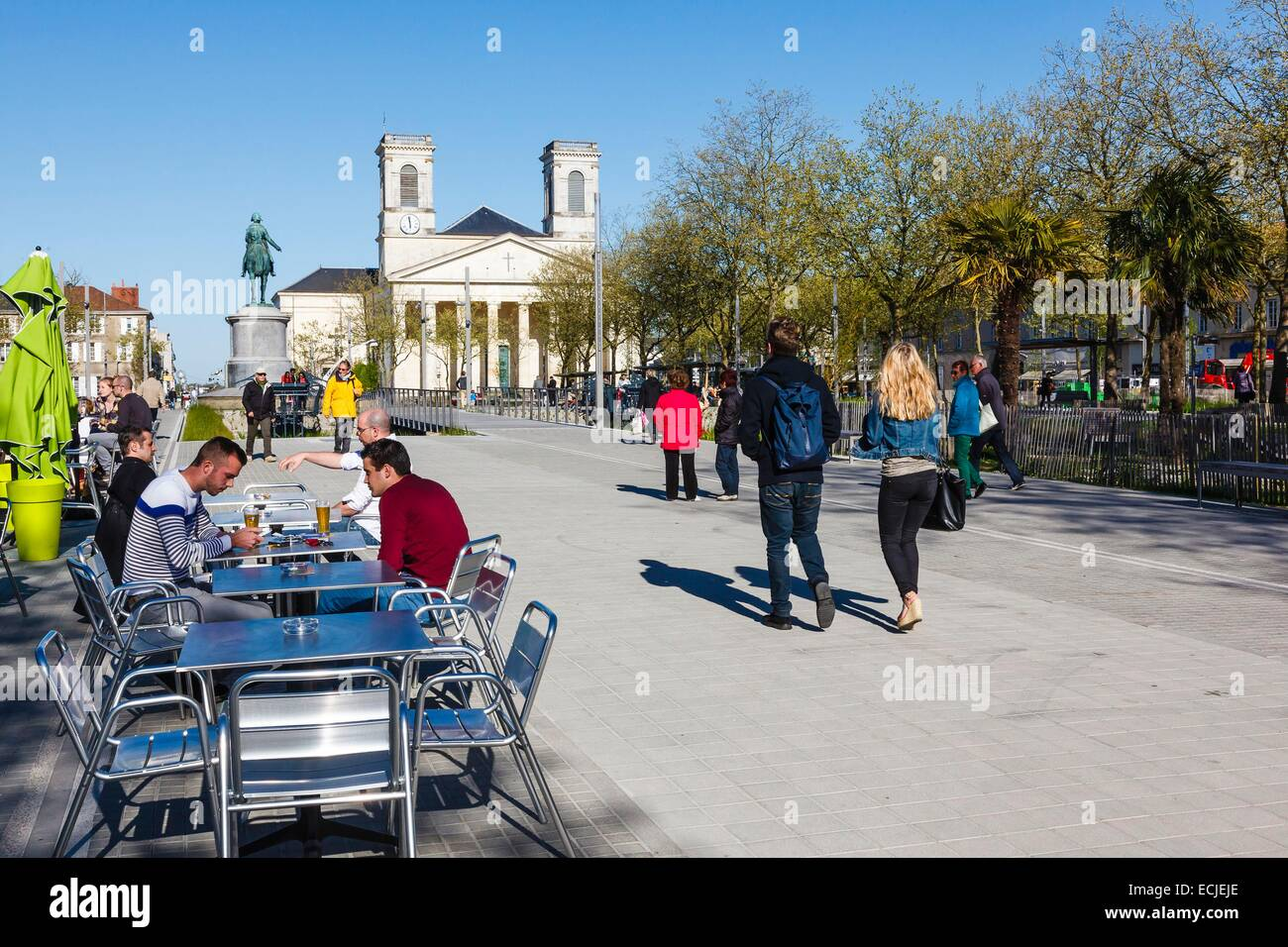 france vendee la roche sur yon napoleon square cafe terrace and stock photo royalty free. Black Bedroom Furniture Sets. Home Design Ideas