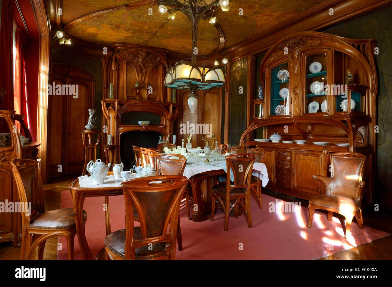 France Meurthe Et Moselle Nancy Ecole De Museum The Art Nouveau Dining Room Of Masson 1903 1906 Furniture And Woodwork By Eugene Vallin