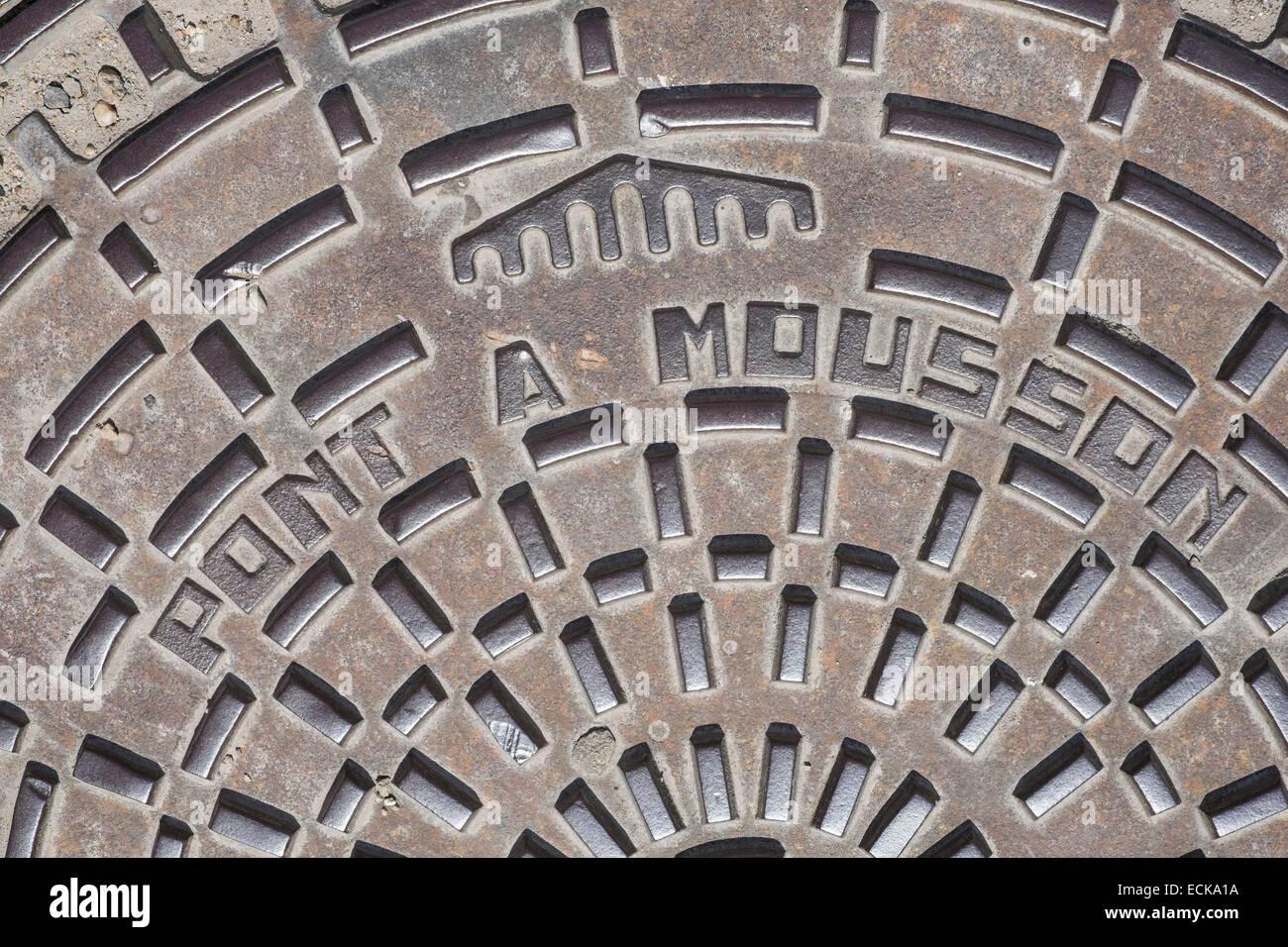france meurthe et moselle pont a mousson cast iron manhole cover stock photo royalty free. Black Bedroom Furniture Sets. Home Design Ideas