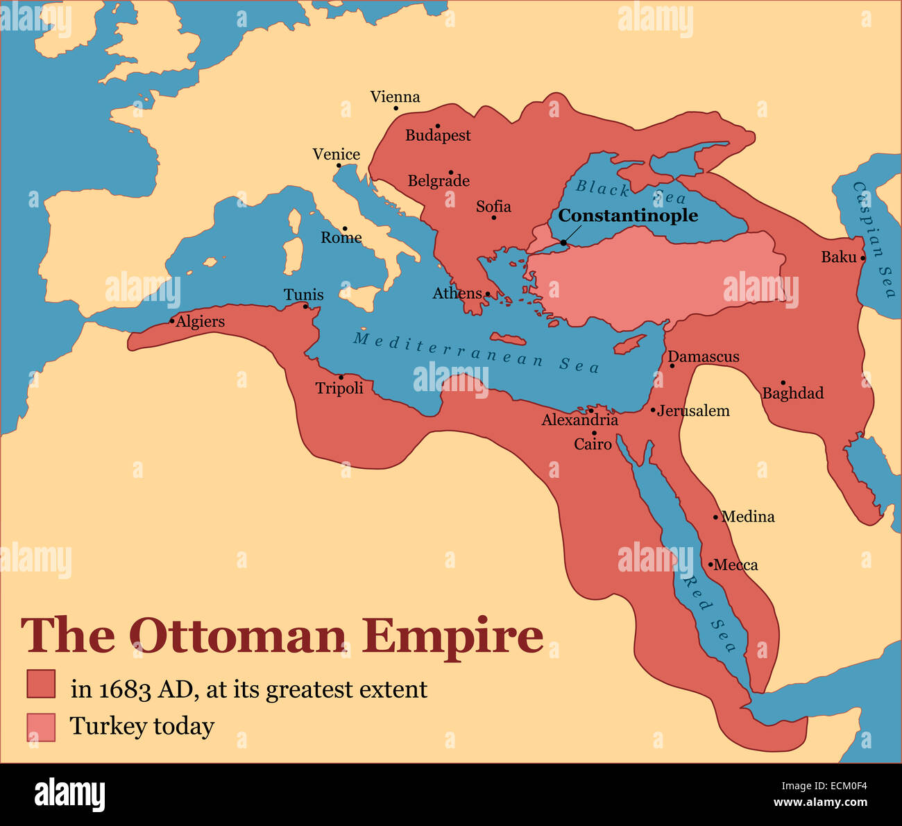 The Ottoman Empire at its greatest extent in 1683 and Turkey