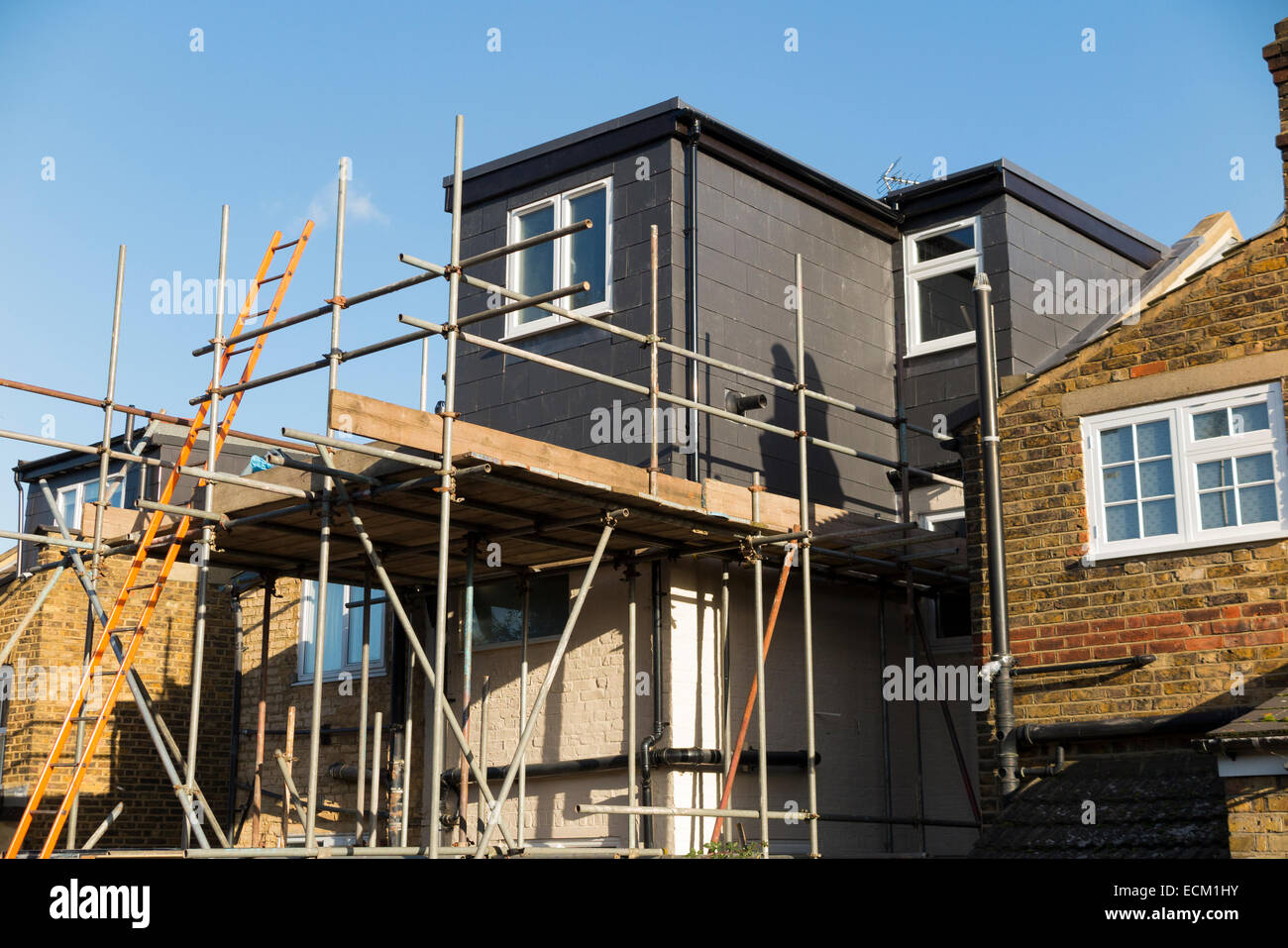Scaffolding To A Newly Completed Dormer Dormers Dormas Dorm On The Roof Victorian Terraced House In Twickenham UK