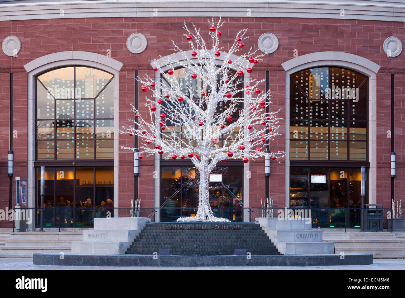 a seasonal non traditional christmas tree with the rose theatre in the background downtown brampton ontario canada - Non Traditional Christmas Trees