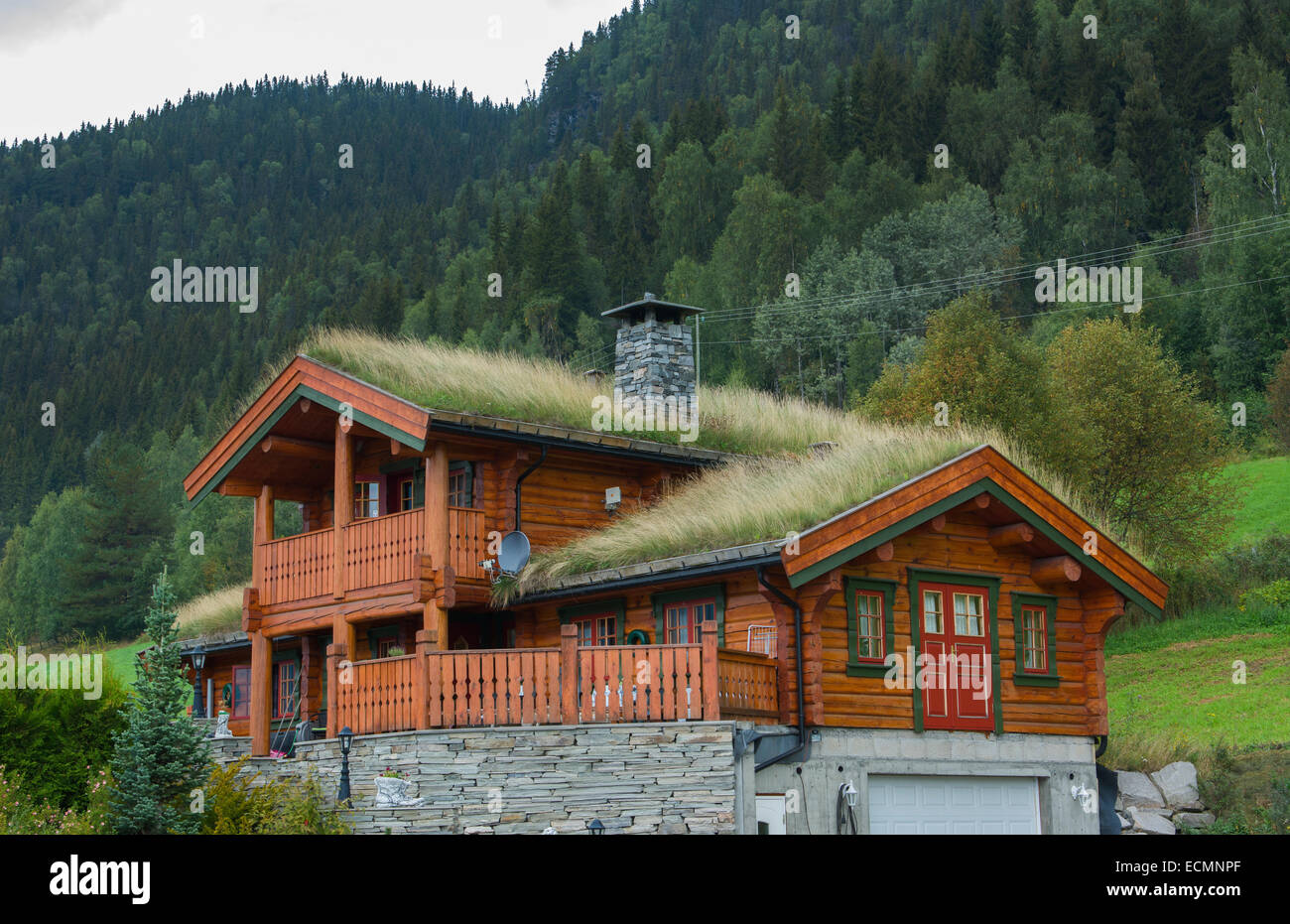 fagernes norway house with old fashioned grass roof for warmth and