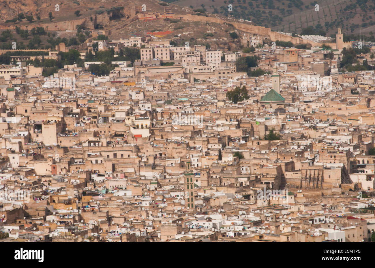 fez morocco panoramic view of crowded city and old town medina with walls from hill above