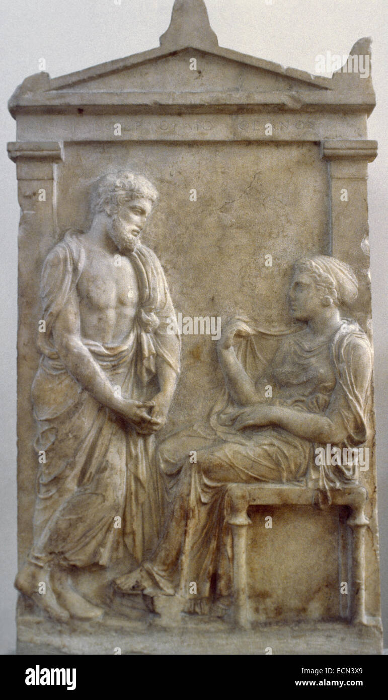 -classic-period-funerary-stele-for-ktesilaos-and-theano-ca-ECN3X9 jpgGrave Stele Of Ktesilaos And Theano