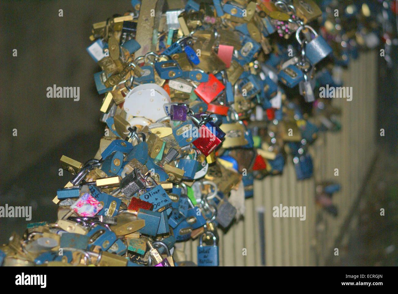Follow The Fashion Furniture Padlocks On Charles Bridge, City Of Prague,  Czech Republic
