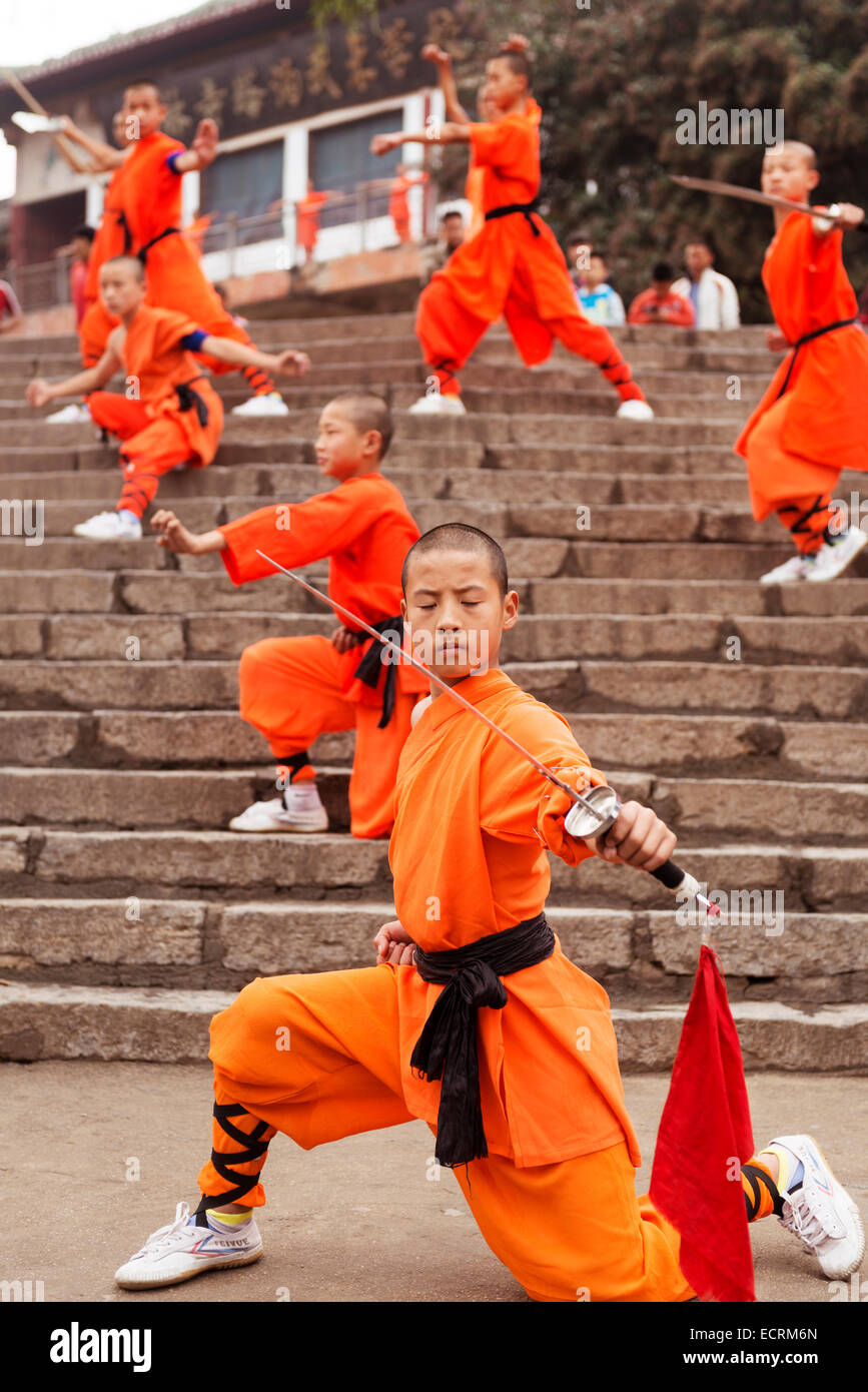 Young shaolin kung fu students with weapons performing for Maitre art martiaux chinois