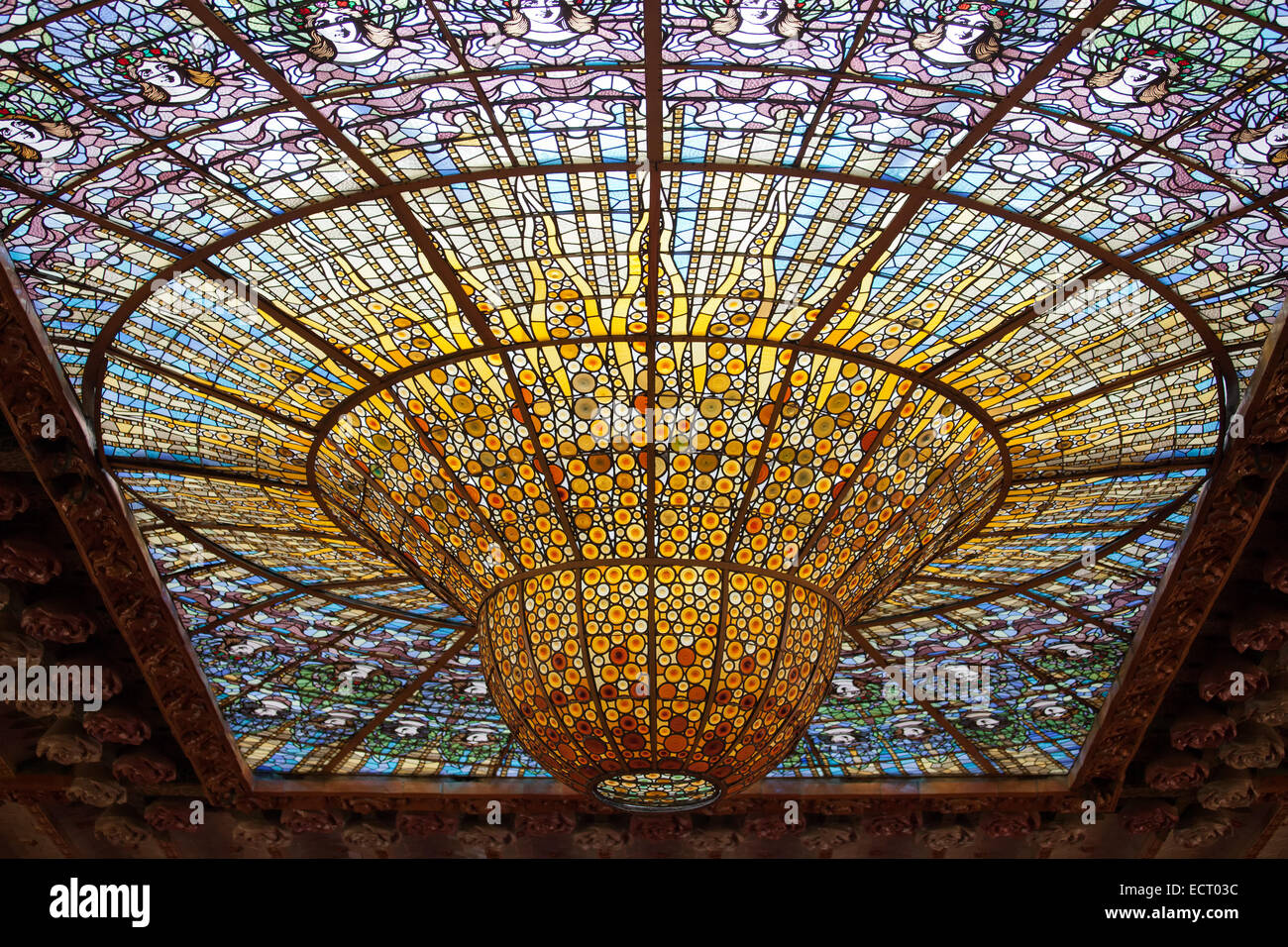 Barcelona Catalonia Spain Stained Glass Skylight