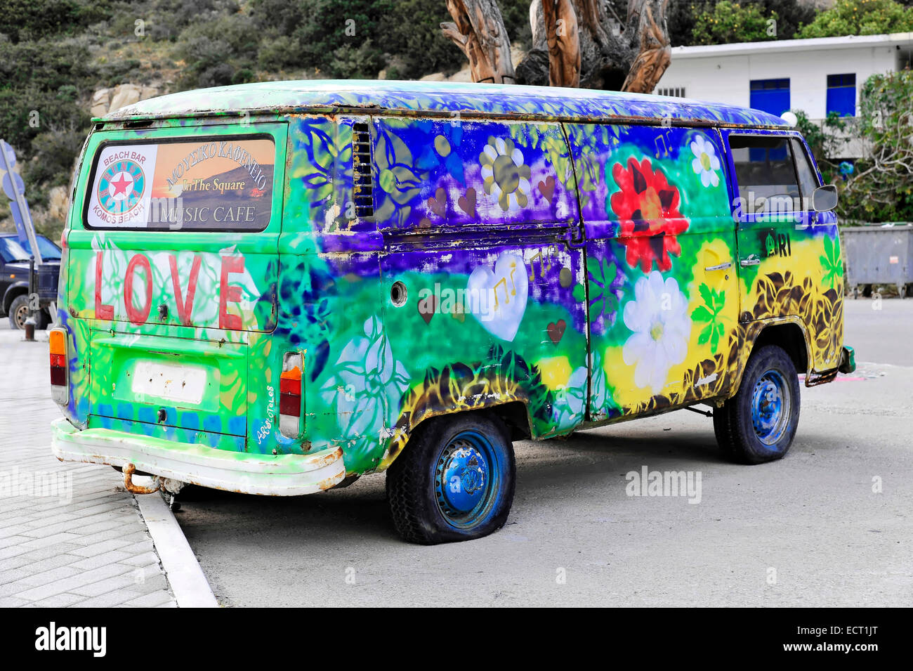 old painted vw camper van hippie van matala crete. Black Bedroom Furniture Sets. Home Design Ideas