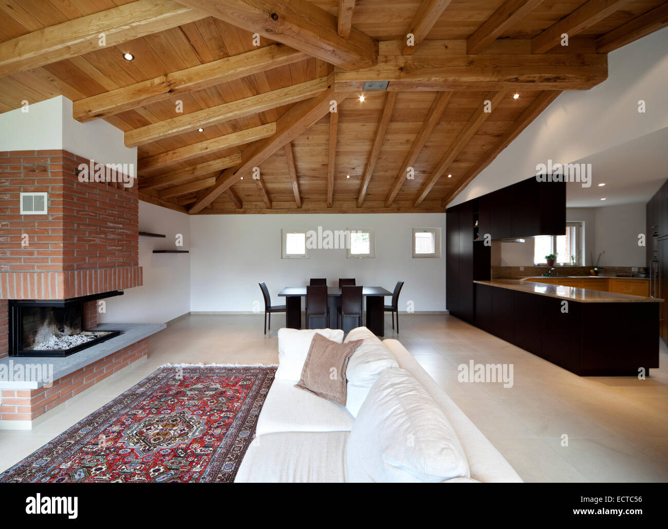modern cozy apartment interior open space wooden roof stock photo
