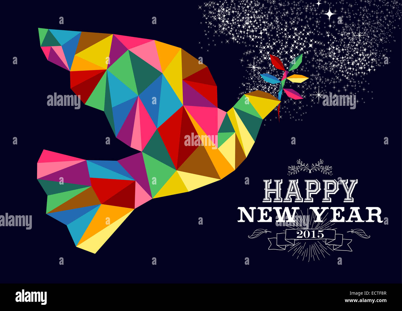Happy new year 2015 greeting card or poster design with colorful happy new year 2015 greeting card or poster design with colorful triangle peace dove and vintage label illustration eps10 vecto kristyandbryce Images
