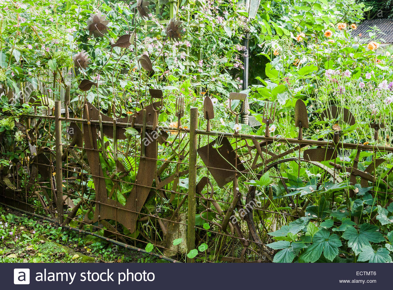 Old garden house - Fence Made Using Old Garden Tools The Secret Garden At Serles House Wimborne Dorset Uk