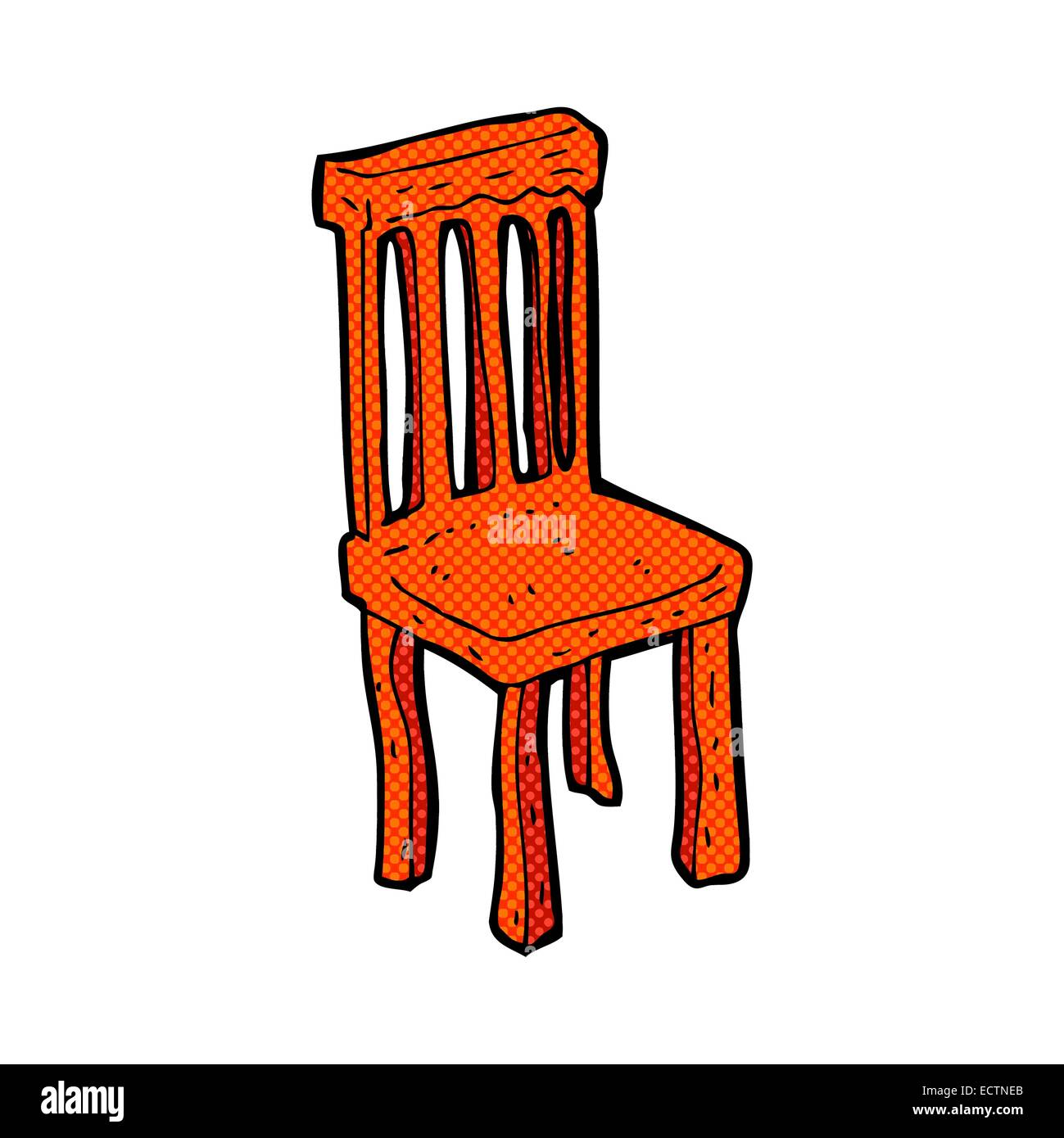 Old wooden chair styles - Stock Vector Retro Comic Book Style Cartoon Old Wooden Chair