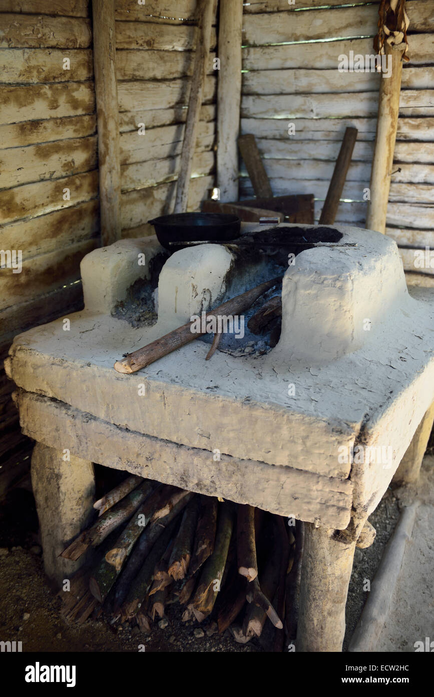 Simple wood burning kitchen stove in wood house in rural Dominican Republic - Simple Wood Burning Kitchen Stove In Wood House In Rural Dominican