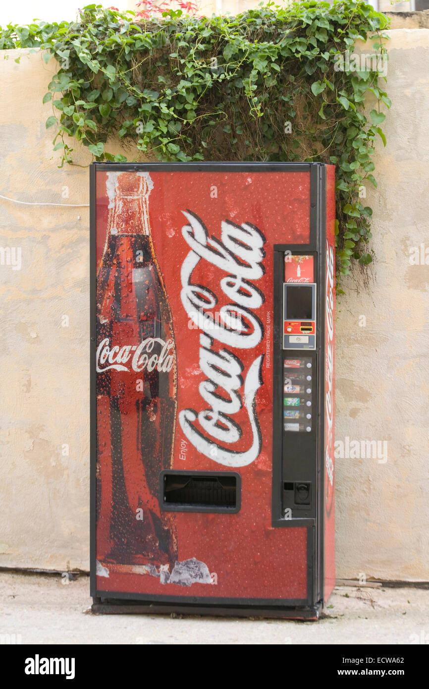 Coca Cola Vending Machine On A Street In Malta Stock Photo