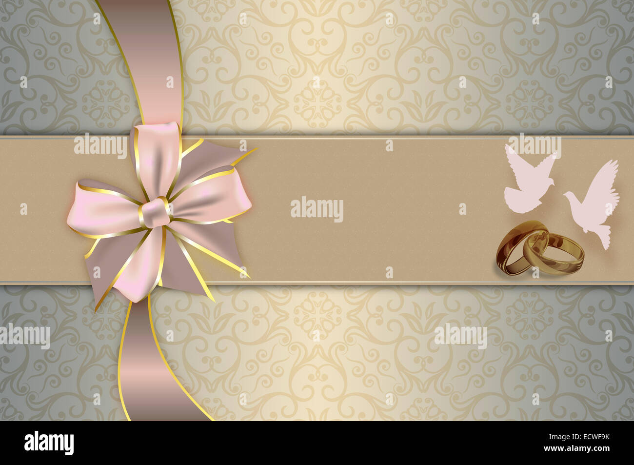 Template Of Wedding Invitation Card With Gold Rings And White Doves