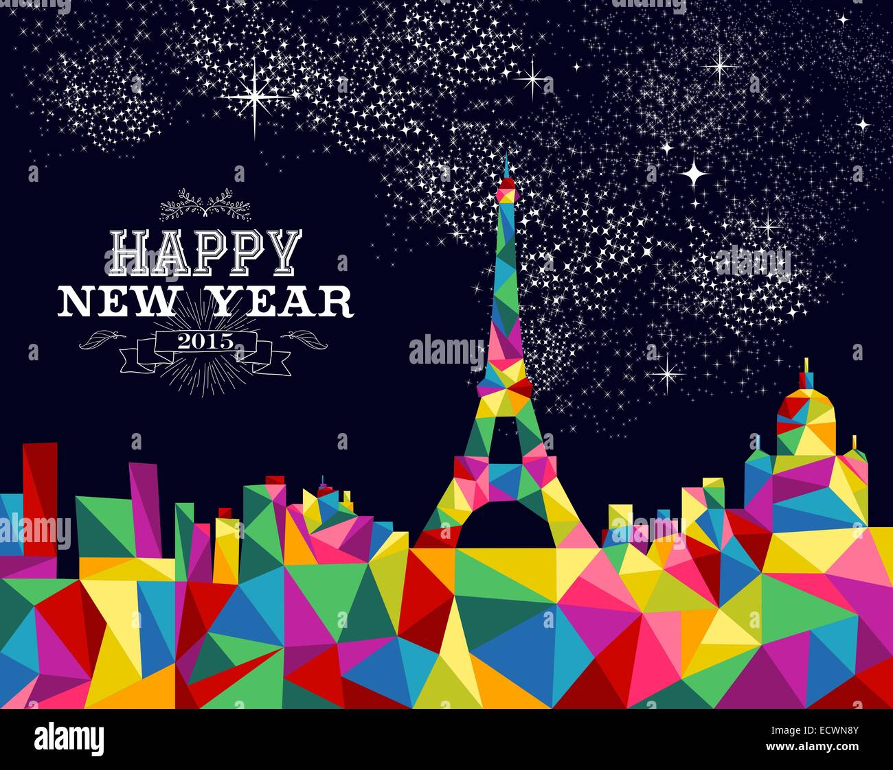 Happy new year greeting card or poster design with colorful happy new year greeting card or poster design with colorful triangle paris skyline and vintage label illustration eps10 vector kristyandbryce Choice Image